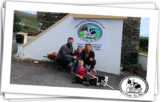Family pictured at Away To Me with Nell (Sheepdog)