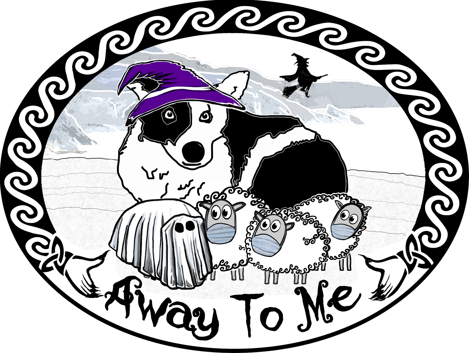 AwayToMe Halloween Logo with masked sheep and Nell the sheepdog wearing a witches hat